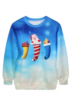 Ladies Pullover Crew Neck Ugly Christmas Santa Printed Sweatshirt