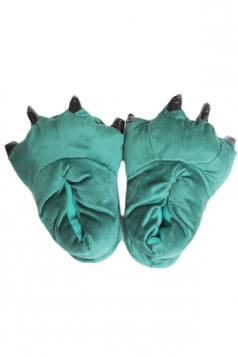 Green Cool Womens Dinosaur Stitch Claw Coral Fleece Cotton Slippers