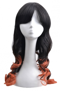 Orange Sexy Womens Gradient Curly Cosplay Party Long Hair