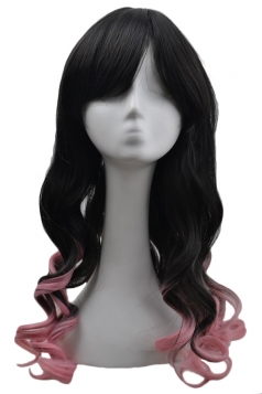Pink Sexy Womens Gradient Curly Cosplay Party Long Hair