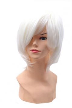 White Fashion Unisex Party Cosplay Short Hair