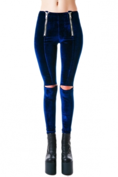 Blue Pretty Womens Ripped Zip Skinny Velvet Leggings