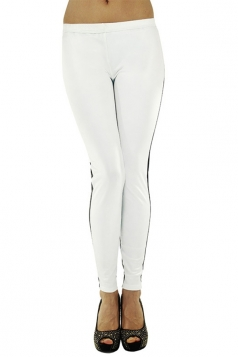 White Trendy Womens Color Block Patchwork Leather Leggings