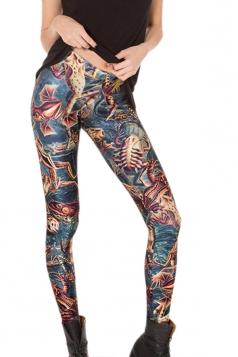 Blue Womens Cool 3D Lizard Printed Slimming Leggings