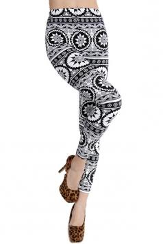 Black and White Tribal Printed Fashion Leggings