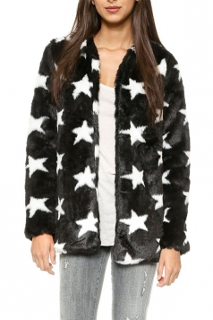 Black Cute Ladies Star Pattern Winter Warm Faux Fur Coat