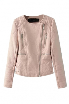 Pink Vintage PU Leather Inclined Zipper Classic Jacket