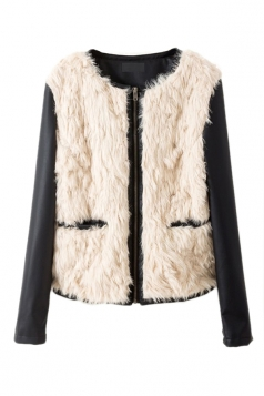 Beige Cool Womens Faux Fur PU Leather Loose Patchwork Coat