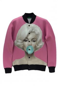 Pink Womens Sexy Marilyn Monroe Printed Jacket