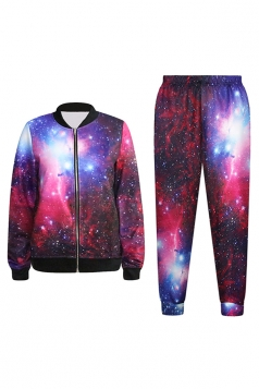 Purple Womens Modern Galaxy Printed Jacket Suit