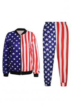 Blue Stylish Ladies American Flag Printed Jacket Suit