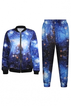 Blue Charming Womens Nebulous Galaxy Printed Jacket Suit