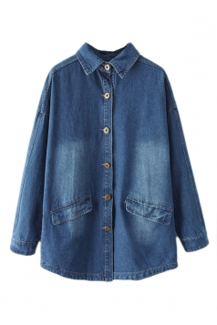 Navy Blue Cool Ladies Denim Loose Plain Long Sleeves Trench Coat