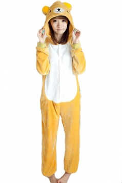 Khaki Cute Ladies Flannel Pajamas Relax Bear Halloween Jumpsuit Costume