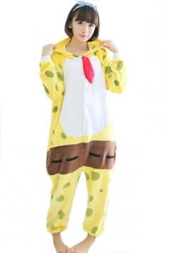 Yellow Pretty Ladies Pajamas  Flannel SpongeBob Halloween Jumpsuit Costume