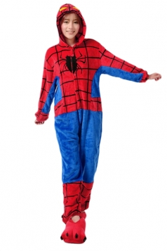 Red Fashion Womens Flannel Pajamas Spiderman Halloween Jumpsuit Costume
