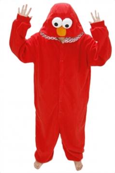 Red Womens Pajamas Flannel Sesame Street Elmo Halloween Jumpsuit Costume