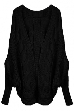 Black Elegant Ladies Batwing Sleeve Cardigan Sweater Coat