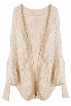 Beige Elegant Ladies Batwing Sleeve Cardigan Sweater Coat