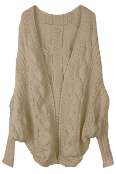 Khaki Elegant Ladies Batwing Sleeve Cardigan Sweater Coat