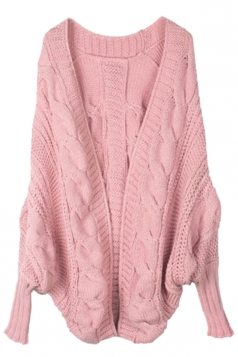 Pink Elegant Ladies Batwing Sleeve Cardigan Sweater Coat