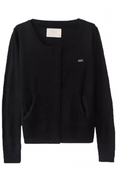 Black Pretty Ladies Crew Neck Patch Plain Cardigan Sweater
