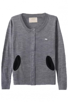 Gray Pretty Ladies Crew Neck Patch Plain Cardigan Sweater