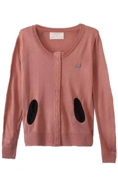 Pink Pretty Ladies Crew Neck Patch Plain Cardigan Sweater