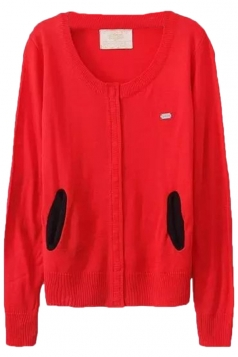 Red Pretty Ladies Crew Neck Patch Plain Cardigan Sweater