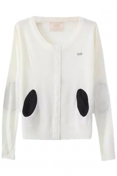 White Pretty Ladies Crew Neck Patch Plain Cardigan Sweater