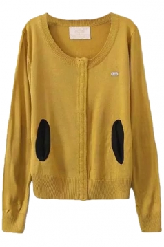 Yellow Pretty Ladies Crew Neck Patch Plain Cardigan Sweater