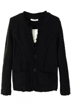 Black Stylish Womens Fringed Long Sleeve Cardigan Sweater Coat