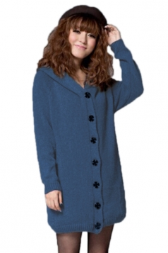 Blue Modern Ladies Lined Long Sleeve Cardigan Sweater Coat