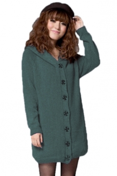 Green Modern Ladies Lined Long Sleeve Cardigan Sweater Coat