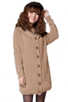 Khaki Modern Ladies Lined Long Sleeve Cardigan Sweater Coat