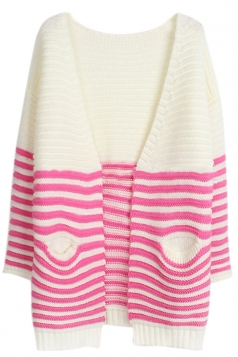 Rose Red Chic V Neck Stripe Color Block Patterned Cardigan Sweater