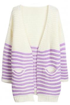 Purple Chic V Neck Stripe Color Block Patterned Cardigan Sweater