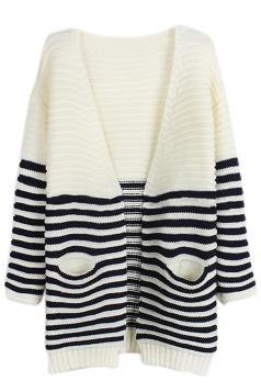 Navy Blue Chic V Neck Stripe Color Block Patterned Cardigan Sweater