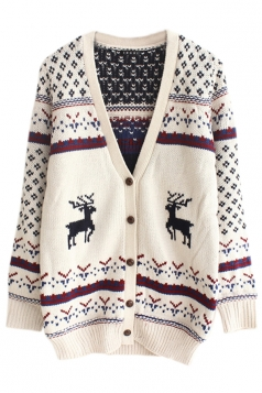 White Pretty Womens Snowflake Elk Cardigan Christmas Sweater