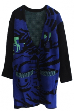 Navy Blue Sexy Ladies Color Block Oversized Cardigan Sweater
