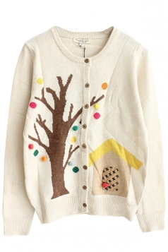 Beige Sexy Ladies Tree House Patterned Cardigan Sweater