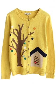 Yellow Sexy Ladies Tree House Patterned Cardigan Sweater