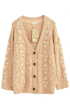 Beige Pretty Ladies Smaller Ditsy Floral Cardigan Sweater Coat