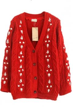 Red Pretty Ladies Smaller Ditsy Floral Cardigan Sweater Coat