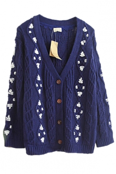 Navy Blue Pretty Ladies Smaller Ditsy Floral Cardigan Sweater Coat
