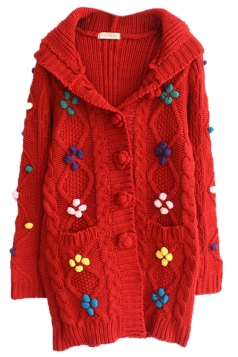 Red Cool Womens Bean Hooded Cardigan Sweater Coat