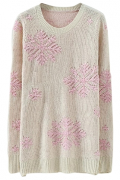 Pink Stylish Womens Snowflake Pullover Christmas Sweater