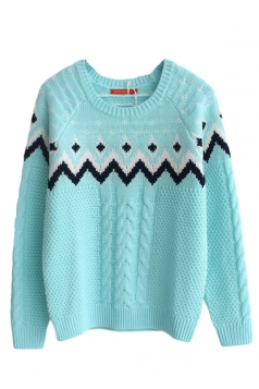 Turquoise Pullover Classic Cable Knit Ladies Christmas Sweater