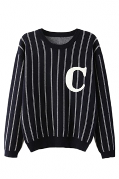 Black Chic Pullover Vertical Stripes Letter C Patterned Sweater