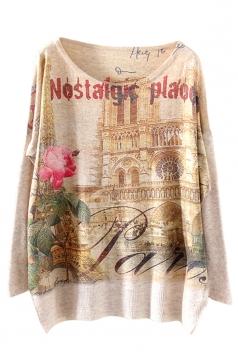 Beige Sexy Womens Castle Flower Pattern Oversized Pullover Sweater